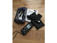 EXCELLENT CONDITION Olympus DM-670 Voice Recorder Dictaphone Leather Case & Compact Zoom Microphone