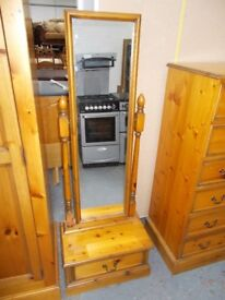 Full length Mirror and Drawer unit.…Antique polished pine…WF2144