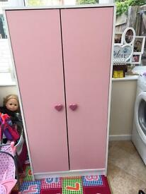 Pink and white short double wardrobe