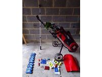 Set Of Spalding Golf Clubs, Wilson Bag and Hippo Trolley