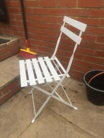 Metal patio white fold up chair X 4