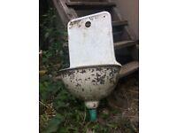 Vintage Eye-Catching Unique Heavy Cast Iron Wall Sink, Planter Garden Decor
