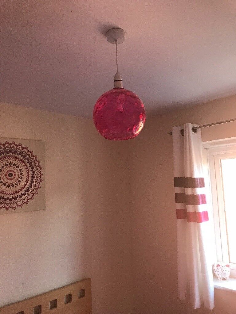 Next pink glass ceiling lampshade