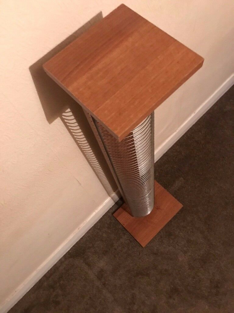 CD rack tower, wooden base, metal frame