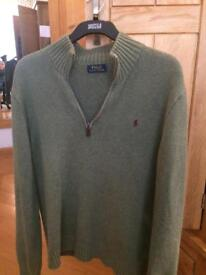 Ralph Lauren green half zip jumper medium
