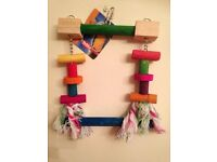 NEW-Parrot/Bird Wooden Toy/Swing/Perch-Wooden Blocks & Sisal Rope-from NOBBY range of pet products.