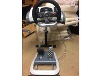 Xbox steering wheel,foot pedals and stand