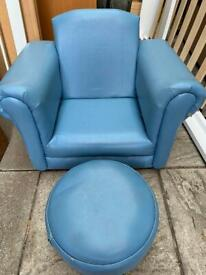 BLUE TODDLER ROCKING CHAIR WITH FOOTSTOOL