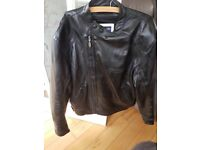 Triumph Retro Motorcycle Leather Jacket, with protective shoulders and arms