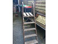 Shop prop wooden shelving ladders x2