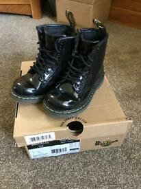 Toddler Girls Patent Dr Marten Boots Size 7