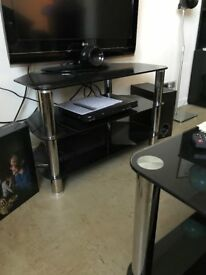 Black and Chrome Glass Corner/TV Stand - Perfect condition