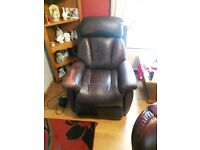 Electric riser recliner leather chair