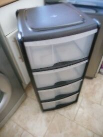 plastic 4 drawer storage unit