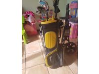 Junior nike clubs and trolley