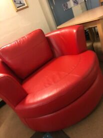 Large Red Leather Swivel Chair
