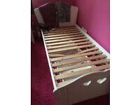 Ashley white wooden bed frame single