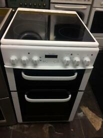 White bush 50cm ceramic hub electric cooker grill & fan oven good condition with guarantee