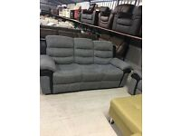 New 3+1+1 Recliner Grey Cloth Trimmed in Black Leather