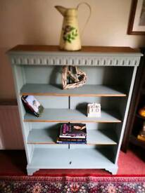 Fully refurbished bookshelf finished in Dovetail green with a stripped and waxed top