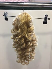 Curly Honey Blonde/Platinum Blonde Ponytail Clip In