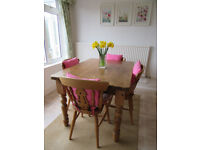Country Style Antique Pine Table and 4 Chairs