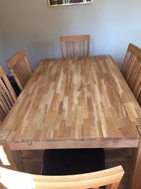 Oiled Oak Dining Table + 6 Dining Chairs