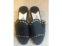 Womens Designer Jimmy Choo JC Black and Gold Studded Block Shoes/Heels Size 6