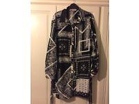 Black patterned shirt dress - size 16