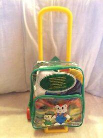 Kids wheeled trolley, detachable rucksack with kitchen utensils