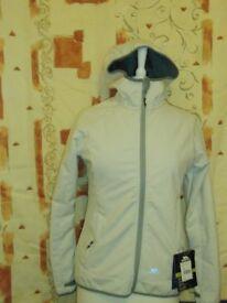 Ladies Trespass Thick Winter Hooded Jacket Cream & Grey – Size XS (UK 10)