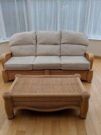 3 seater cream wicker sofa & wicker table