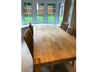 Dansk Oak Dining Table Set with Chairs