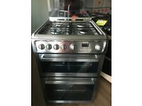 HOTPOINT 60CM ALL GAS COOKER IN SHINY SILIVER WITH LID