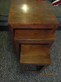 SOLID WOOD TALL NEST OF TABLES VERY HEAVY GOOD QUALITY GOOD CONDITION