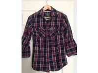 SuperDry navy/red checked shirt, size M