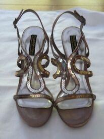 Mink & Gold Sequined Sandals