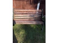 Garden Bench Wrought Iron and Wood