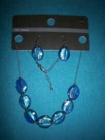 New M&S Blue Necklace & Matching Earrings Set IP1