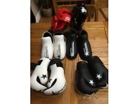 Kids kickboxing glove, foot protectors and headguards (x2 sets)