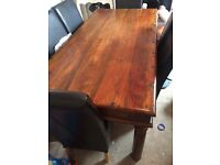 Sold oak dinning table 6 leather chairs