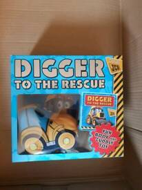 Digger to the rescue book and toy set