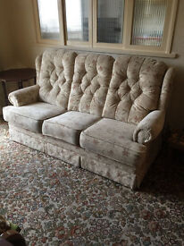 FREE Lovely 3 piece suite in neutral colour - 2 chairs , one 3 seat sofa / settee FREE