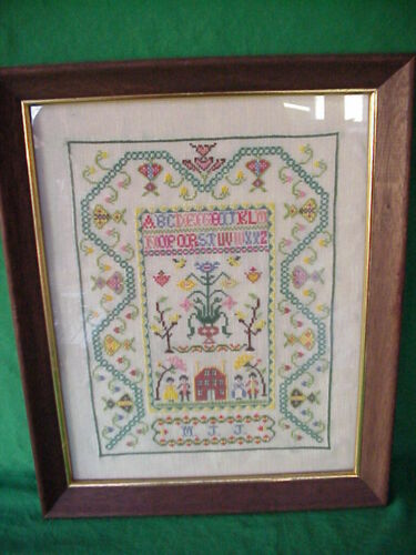 """ANTIQUE OR VINTAGE ~ ABC ~ CROSS STITCH SAMPLER IN WOOD FRAME & GLASS 16"""" X 13"""""""
