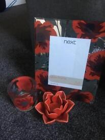 Next red poppy bundle set, photo frame and two candle holders