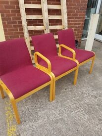 3 Red reception office chairs , set of 3 reception chars in Red