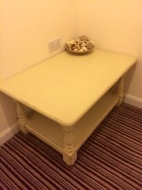 Shabby chic cream solid coffee table.
