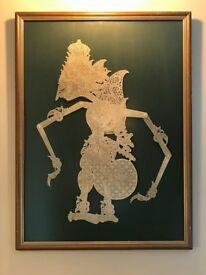 Java Wayang Kulit Framed Leather Shadow Puppet-Art/Picture-Indonesian-Goddess Rama