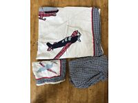 Aeroplane embroidered cot bed set