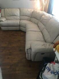 Cream Leather Power Recliner Sofa Bargain